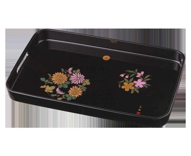 長手盆 菊桜